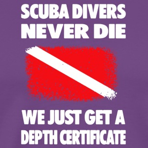 Scuba Diving Depth Certificate Tee Shirts - Men's Premium T-Shirt