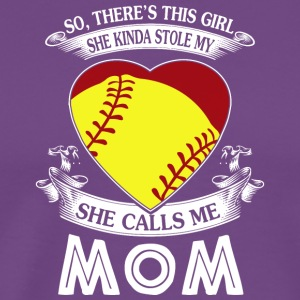She Kinda Stole My Heart Softball Mom T Shirt - Men's Premium T-Shirt