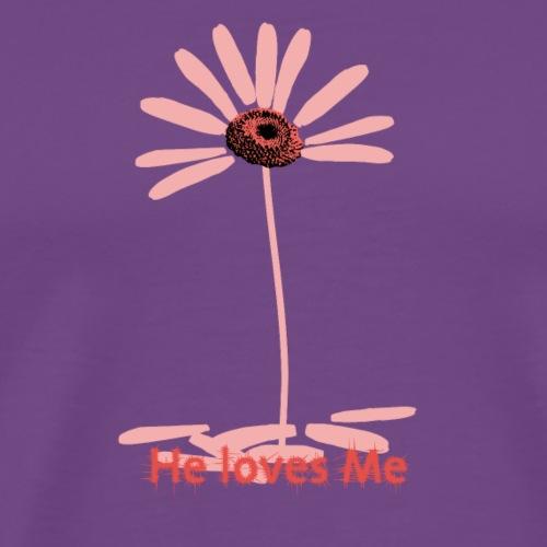 pink daisy He loves me - Men's Premium T-Shirt