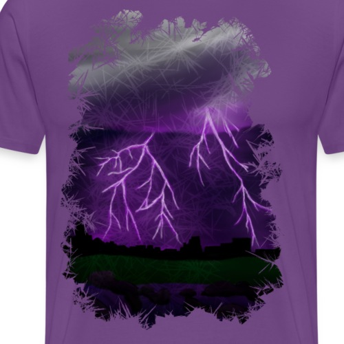 Purple Lightning Scene - Men's Premium T-Shirt