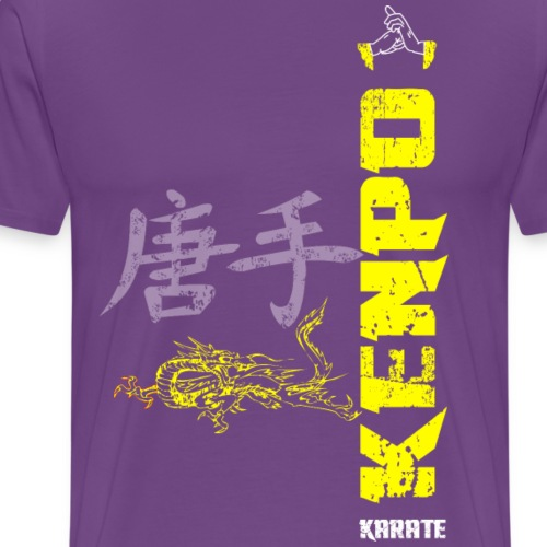 vertical kenpo with chinese kanji dragon yellow - Men's Premium T-Shirt