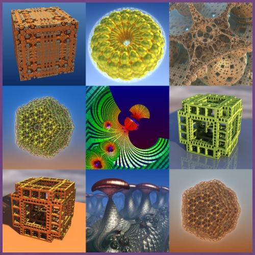 9 Fractal Collage of 3D Computer Art - Men's Premium T-Shirt
