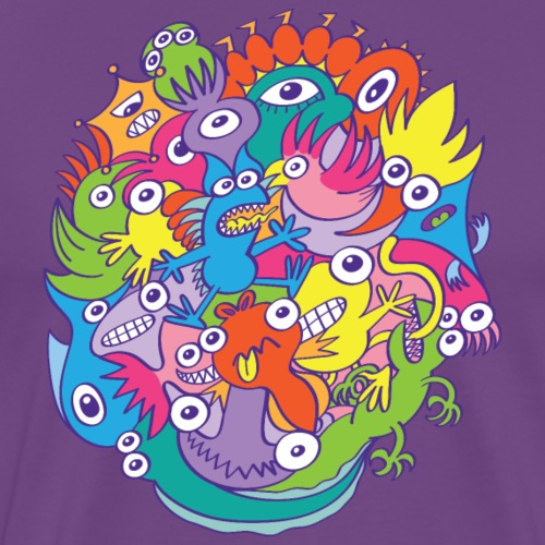 Colorful funny monsters parade in doodle art style - Men's Premium T-Shirt