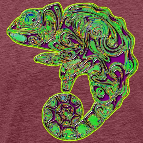 Abstract Green & Purple Chameleon - Men's Premium T-Shirt