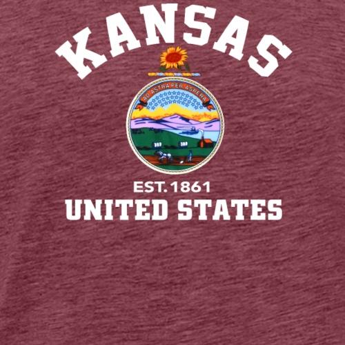 Kansas USA Est 1861 Patriotic Flag - Men's Premium T-Shirt