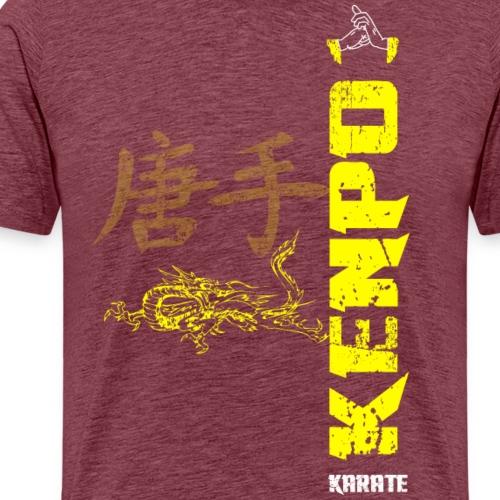 vertical kenpo with chinese kanji & dragon yellow - Men's Premium T-Shirt