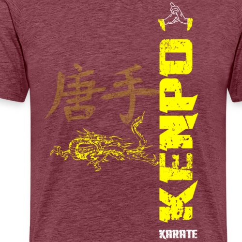 vertical kenpo with chinese kanji & dragon yellow - Men's Premium T-Shirt