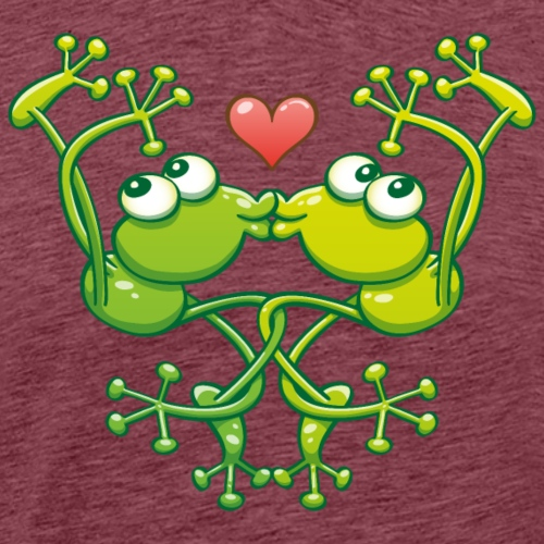 Frogs in love in choreography of jumps and kisses - Men's Premium T-Shirt