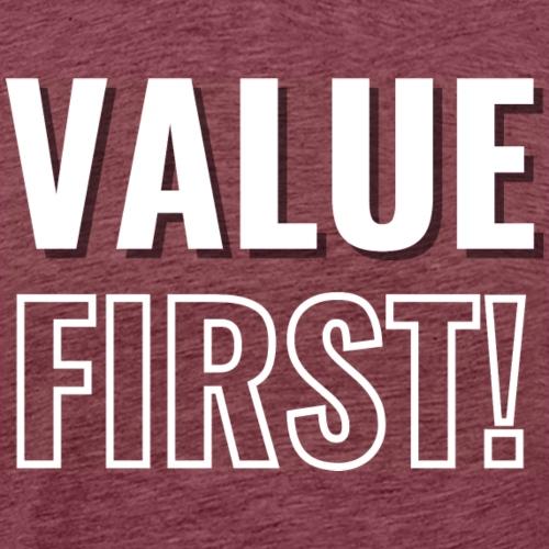 Value First Design - White Text - Men's Premium T-Shirt