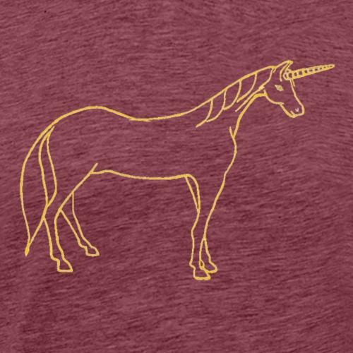 unicorn gold outline - Men's Premium T-Shirt