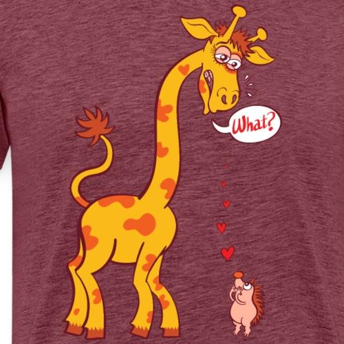 Bold hedgehog in love with tall giraffe - Men's Premium T-Shirt
