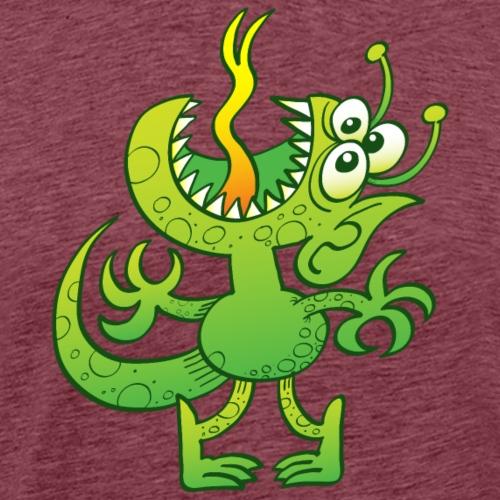 Three-eyed green alien showing signs of stress - Men's Premium T-Shirt