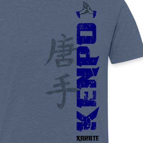 vertical kenpo with chinese kanji blue - Men's Premium T-Shirt