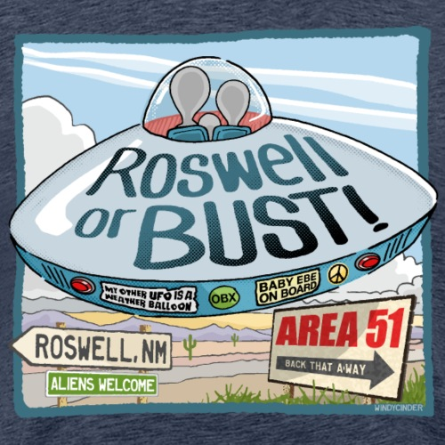 Roswell or Bust UFO Cartoon - Men's Premium T-Shirt
