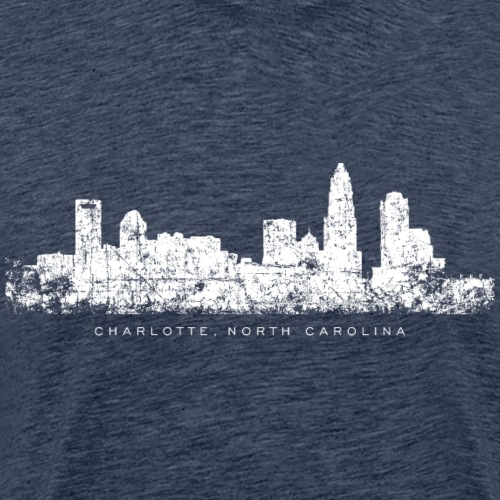 Charlotte, North Carolina Skyline (Vintage White) - Men's Premium T-Shirt