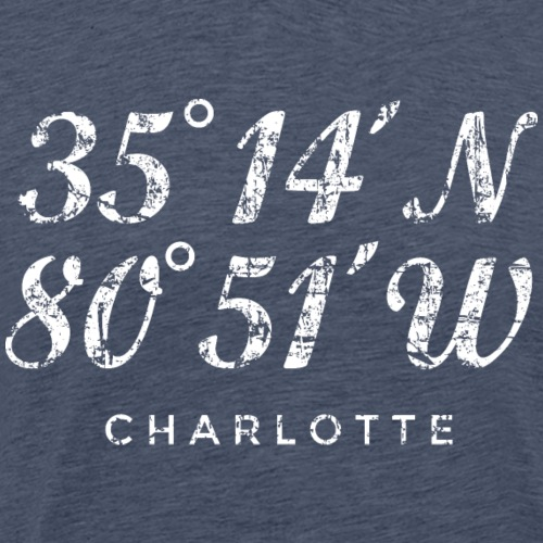 Charlotte North Carolina Coordinates Vintage White - Men's Premium T-Shirt