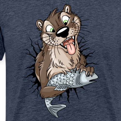 STUCK Otter (front) - black cracks - Men's Premium T-Shirt