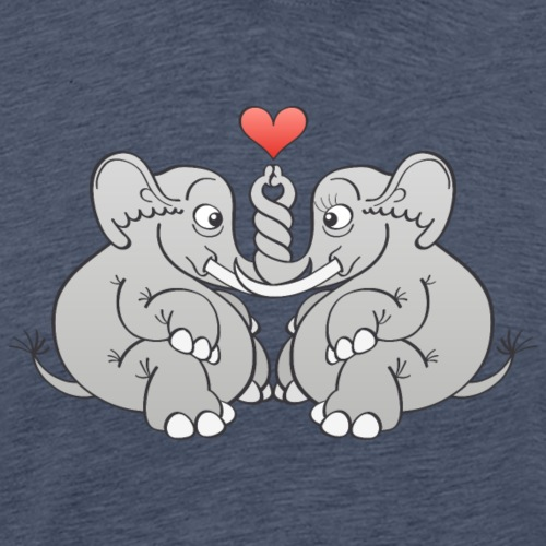 Elephants intertwining trunks and falling in love - Men's Premium T-Shirt