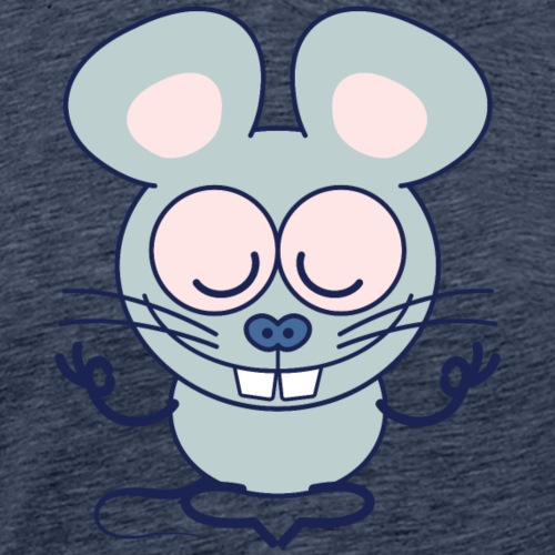 Gray mouse peacefully meditating in lotus pose - Men's Premium T-Shirt