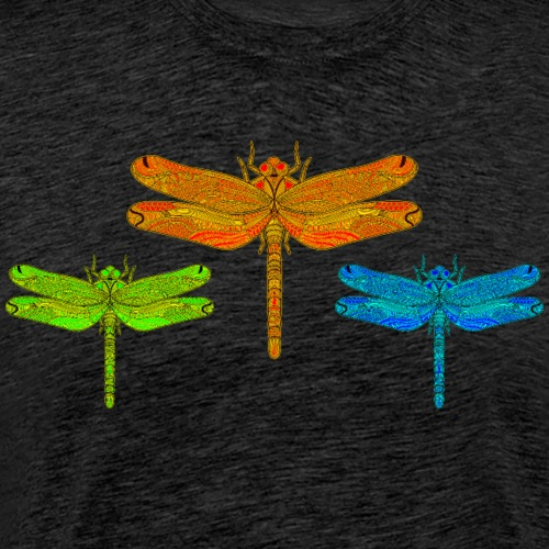 3 Colorful Dragonflies Green, Orange and Blue - Men's Premium T-Shirt