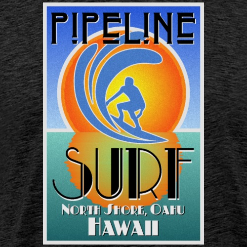 Pipeline, North Shore, Oahu, Art Deco Style - Men's Premium T-Shirt