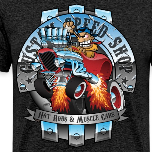 Custom Speed Shop Hot Rods and Muscle Cars Illustr - Men's Premium T-Shirt