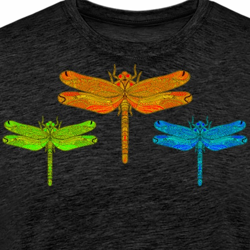 3 Colorful Dragonflies Green, Orange and Blue - Men's Premium T-Shirt