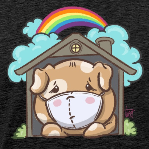 Kawaii Sick Dog with Mask - Men's Premium T-Shirt