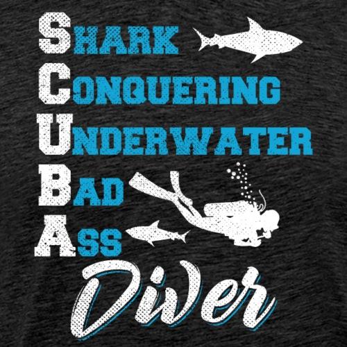 Shark Conquering Underwater Scuba Diver - Men's Premium T-Shirt