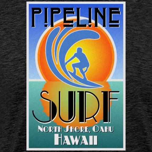 Pipeline, North Shore, Oahu, Art Deco Style - Men's Premium T-Shirt