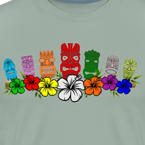 7 Colorful Hawaiian - Polynesian Tiki Idols - Men's Premium T-Shirt