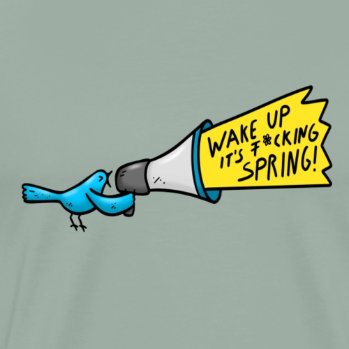 Bird Spring Megaphon Fun Shirt - Men's Premium T-Shirt