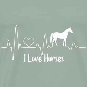 Horse Heartbeat White - Men's Premium T-Shirt