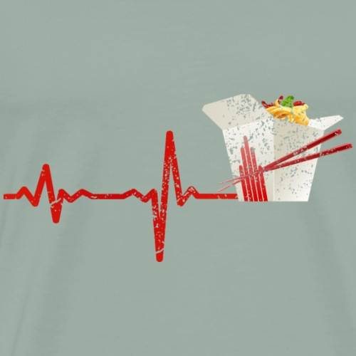 heartbeat fast food noodle snack asia - gift - Men's Premium T-Shirt