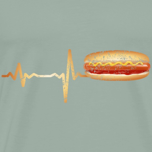 Heartbeat fast food hot dog - gift - Men's Premium T-Shirt