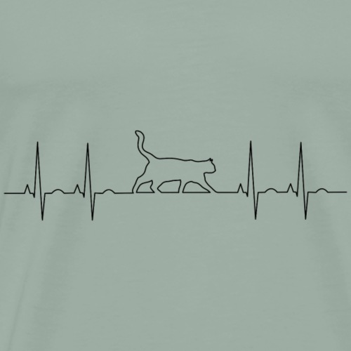 Heartbeat CAT paws EKG - Men's Premium T-Shirt