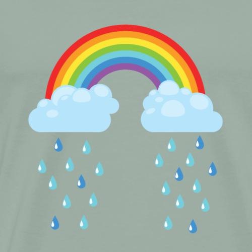 Rainbow Clouds Raining Raindrops - Men's Premium T-Shirt