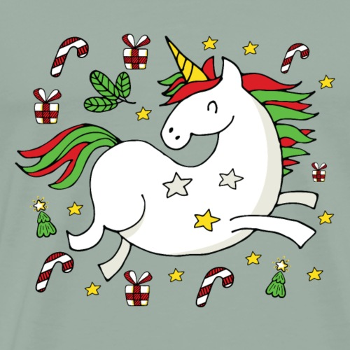 Merry Christmas, Happy Holidays Unicorn Celebrates - Men's Premium T-Shirt