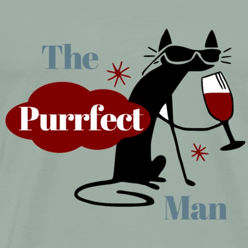 The Purrfect Man - Wine drinking cat - Men's Premium T-Shirt