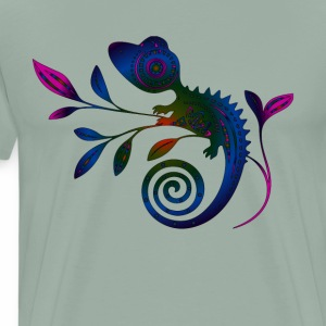EDM NEON GECKO ON TWIG - Men's Premium T-Shirt