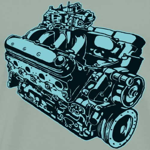 Car engine cool sketch vector image illustration - Men's Premium T-Shirt