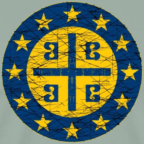 Byzantine Empire Cross Standard and the EU Flag - Men's Premium T-Shirt