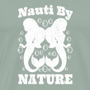 Cute Mermaid T Shirt NAUTI BY NATURE Distressed - Men's Premium T-Shirt