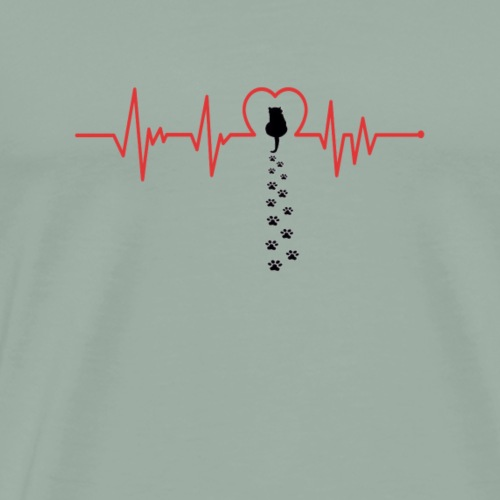 Heartbeat CAT paws EKG model 2 - Men's Premium T-Shirt