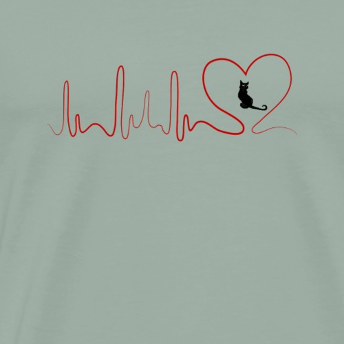 Heartbeat CAT paws EKG model 3 - Men's Premium T-Shirt