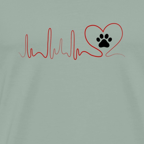 Heartbeat CAT paws EKG model 4 - Men's Premium T-Shirt