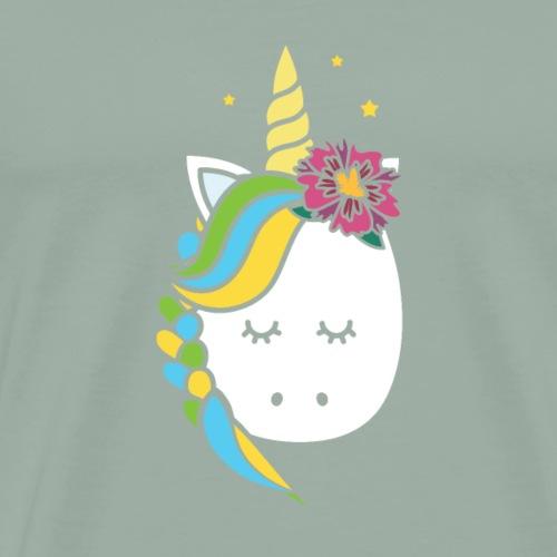 Pretty Rainbow Unicorn Braided Hair with Flower - Men's Premium T-Shirt