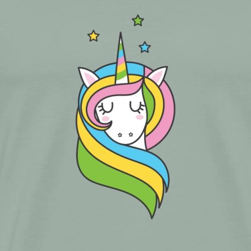 Pretty Cute Rainbow Unicorn with Flowing Hair - Men's Premium T-Shirt