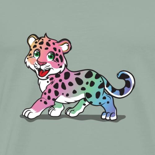 Adorable Rainbow Leopard Cat - Men's Premium T-Shirt