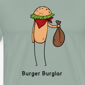Burger Burglar Criminal Joke Fun Shirt - Men's Premium T-Shirt